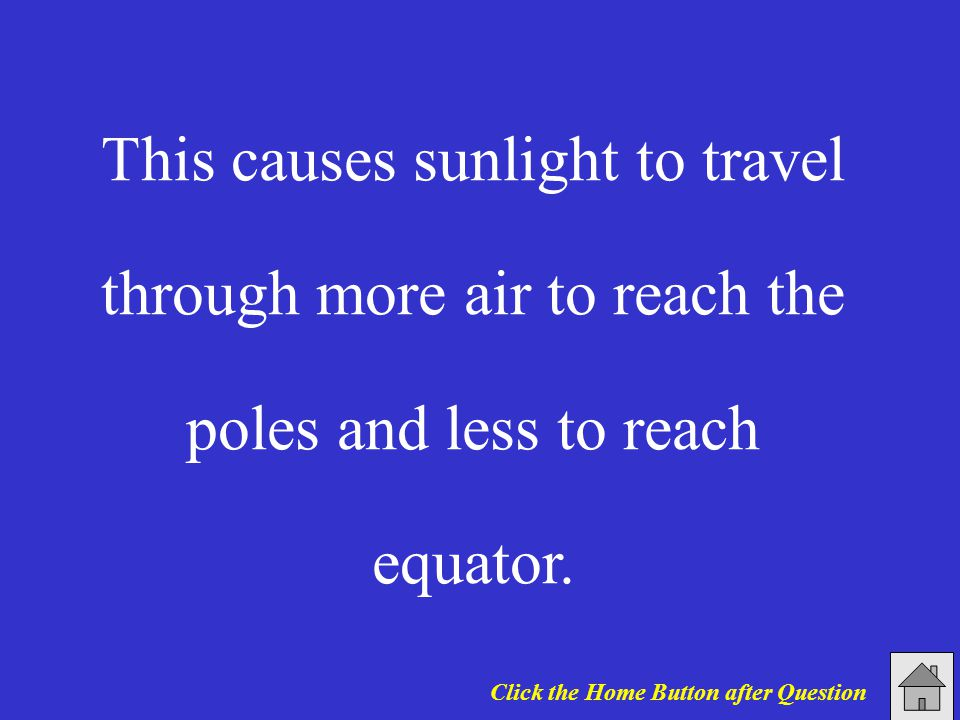 This causes sunlight to travel through more air to reach the poles and less to reach equator. Click the Home Button after Question