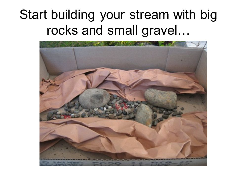 Start building your stream with big rocks and small gravel…