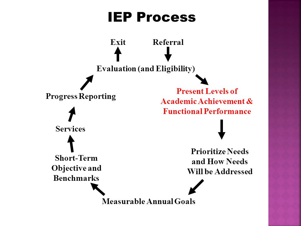 IEP Process Referral Measurable Annual Goals Short-Term Objective and Benchmarks Prioritize Needs and How Needs Will be Addressed Evaluation (and Eligibility) Present Levels of Academic Achievement & Functional Performance Services Progress Reporting Exit
