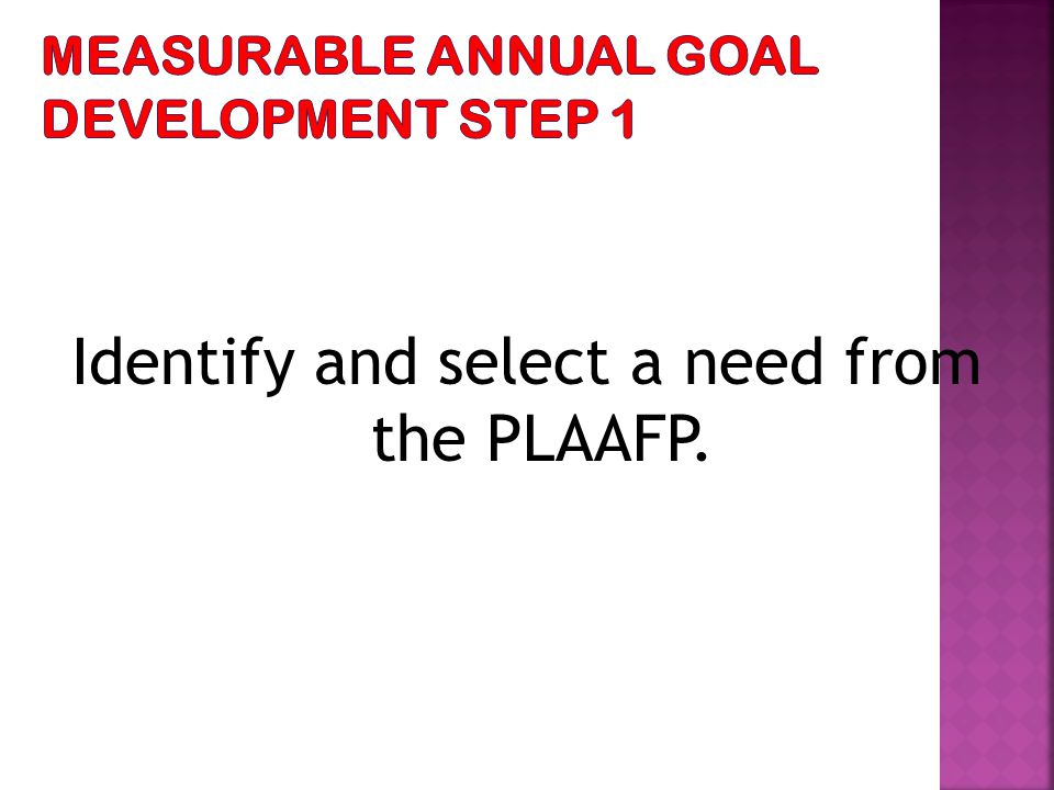 Identify and select a need from the PLAAFP.