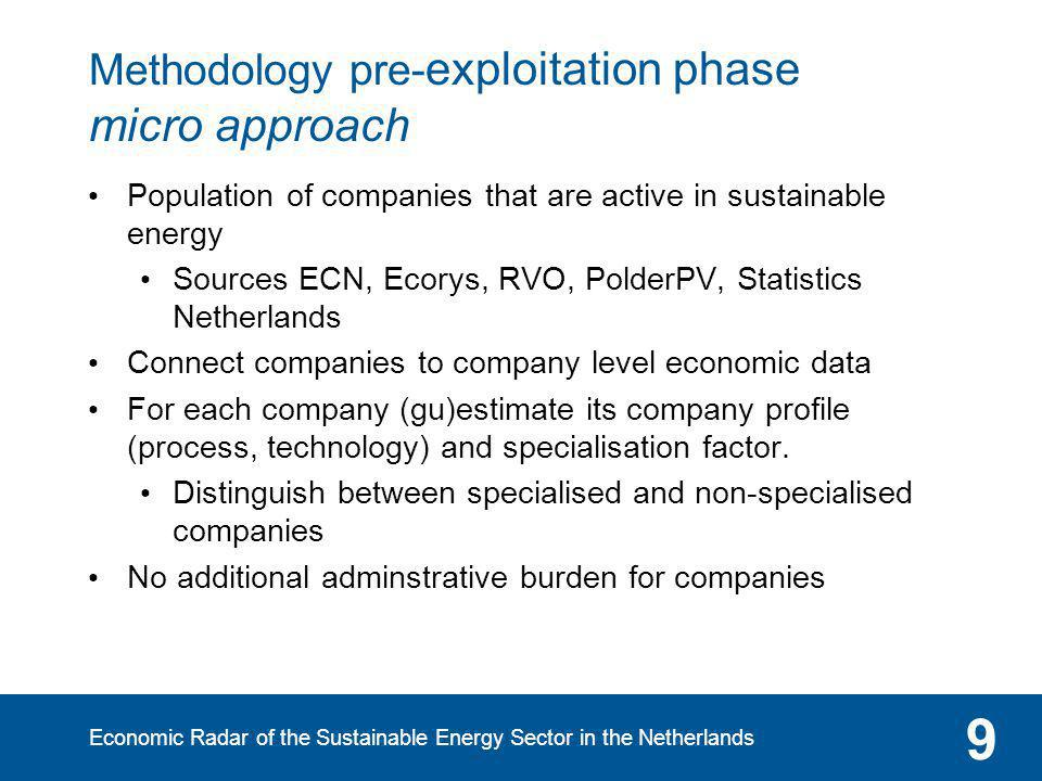 Economic Radar of the Sustainable Energy Sector in the Netherlands 9 Methodology pre- exploitation phase micro approach Population of companies that a
