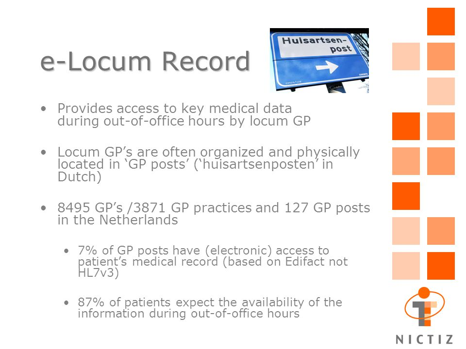 e-Locum Record Provides access to key medical data during out-of-office hours by locum GP Locum GP's are often organized and physically located in 'GP posts' ('huisartsenposten' in Dutch) 8495 GP's /3871 GP practices and 127 GP posts in the Netherlands 7% of GP posts have (electronic) access to patient's medical record (based on Edifact not HL7v3) 87% of patients expect the availability of the information during out-of-office hours