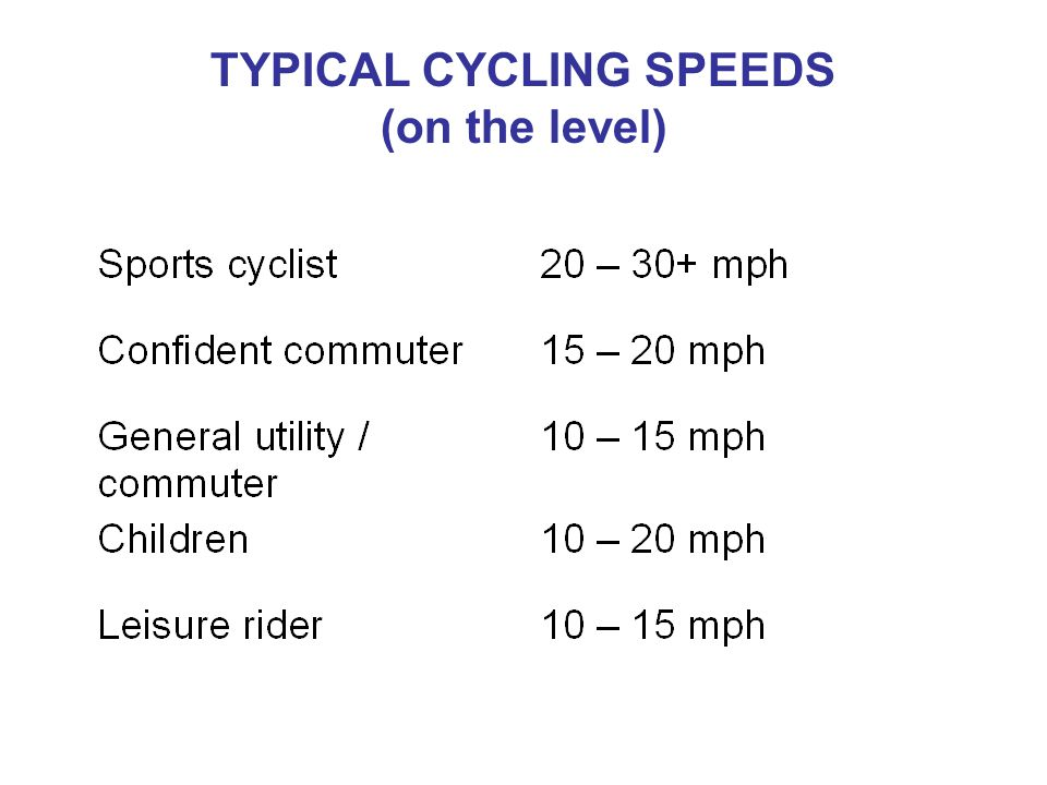 TYPICAL CYCLING SPEEDS (on the level)