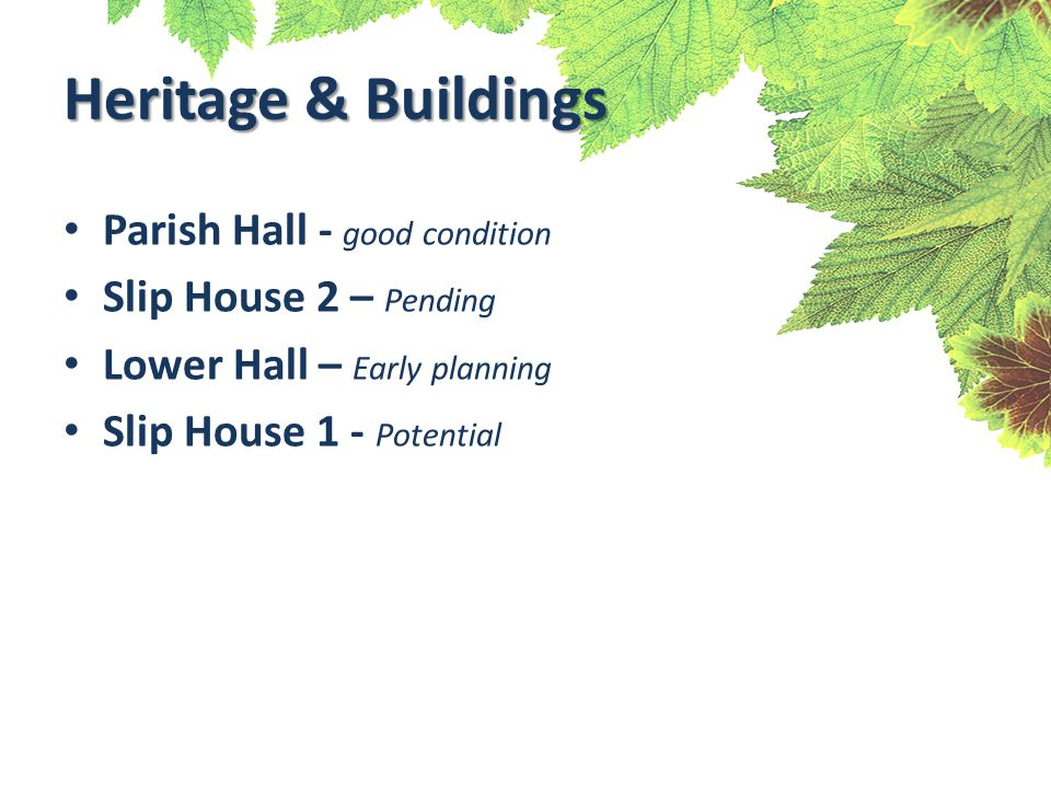 Heritage & Buildings Parish Hall - good condition Slip House 2 – Pending Lower Hall – Early planning Slip House 1 - Potential