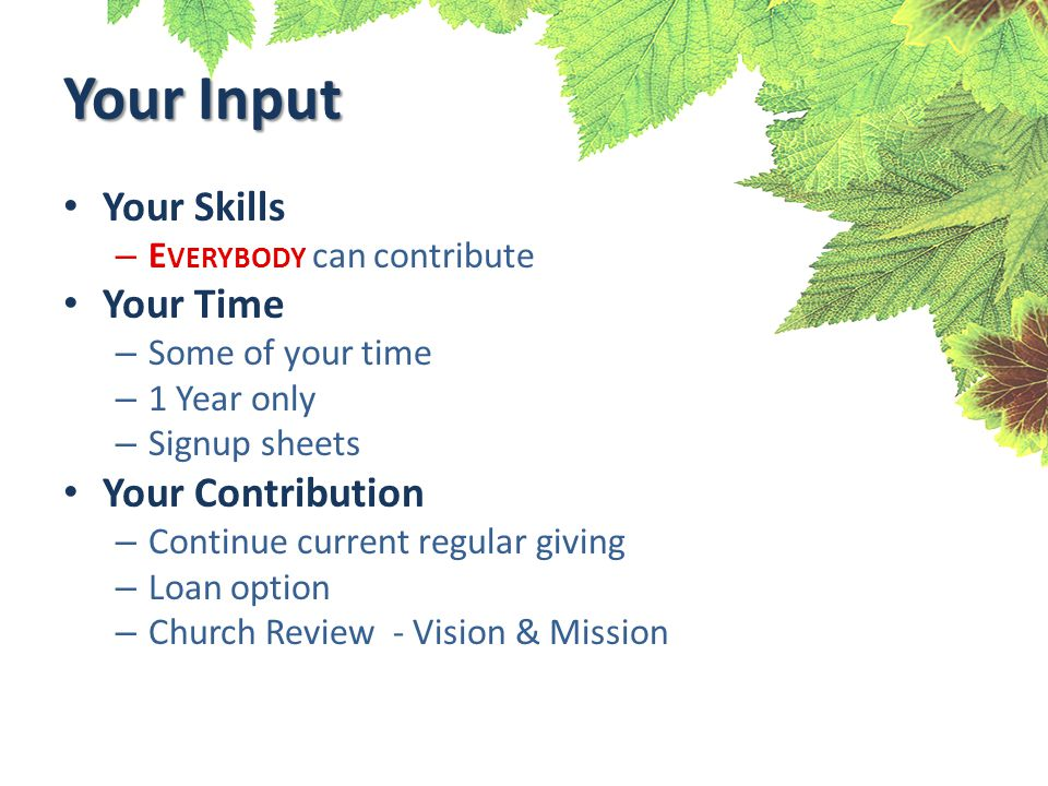 Your Input Your Skills – E VERYBODY can contribute Your Time – Some of your time – 1 Year only – Signup sheets Your Contribution – Continue current regular giving – Loan option – Church Review - Vision & Mission
