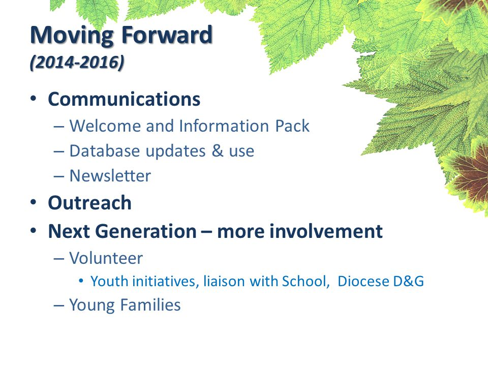 Moving Forward (2014-2016) Communications – Welcome and Information Pack – Database updates & use – Newsletter Outreach Next Generation – more involvement – Volunteer Youth initiatives, liaison with School, Diocese D&G – Young Families