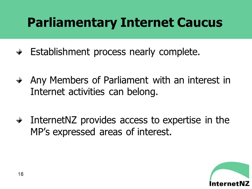 16 Parliamentary Internet Caucus Establishment process nearly complete.