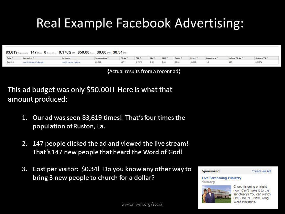 Real Example Facebook Advertising: {Actual results from a recent ad} 1.Our ad was seen 83,619 times.