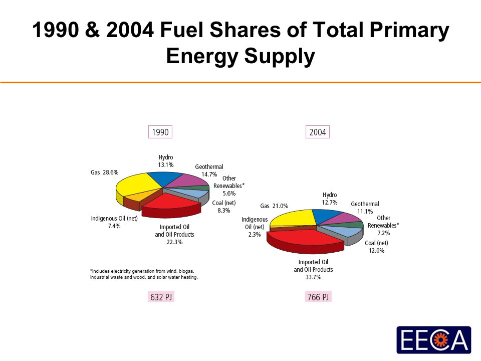 1990 & 2004 Fuel Shares of Total Primary Energy Supply