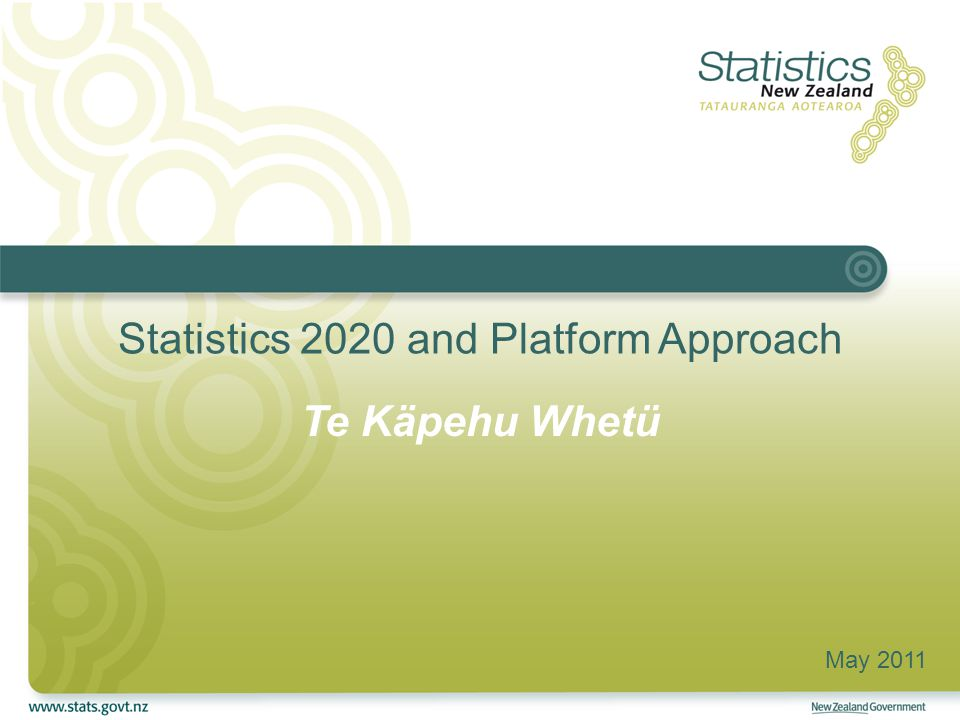 Agenda Current Legacy Architecture Statistics NZ Strategic Plan 2010-20 Te Käpehu Whetü - Statistics 2020 IT Strategy 2009–12 Platform-based Architecture Reuse, Integration and Transition Current State of Play Strategic Benefits February 20112End to End Architecture Framework