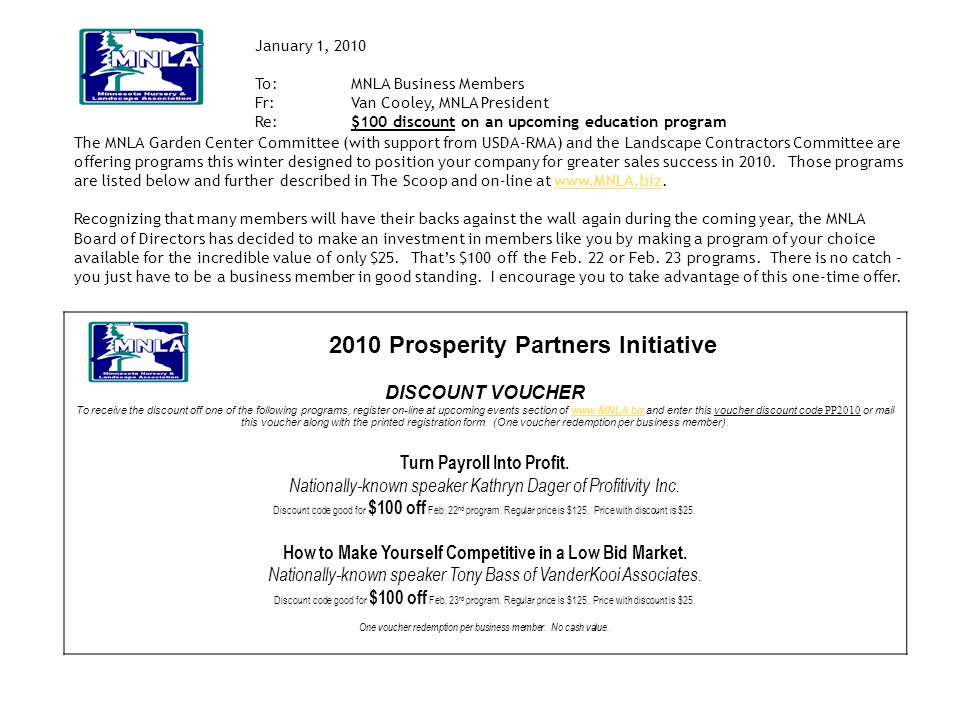 2010 Prosperity Partners Initiative DISCOUNT VOUCHER To receive the discount off one of the following programs, register on-line at upcoming events se