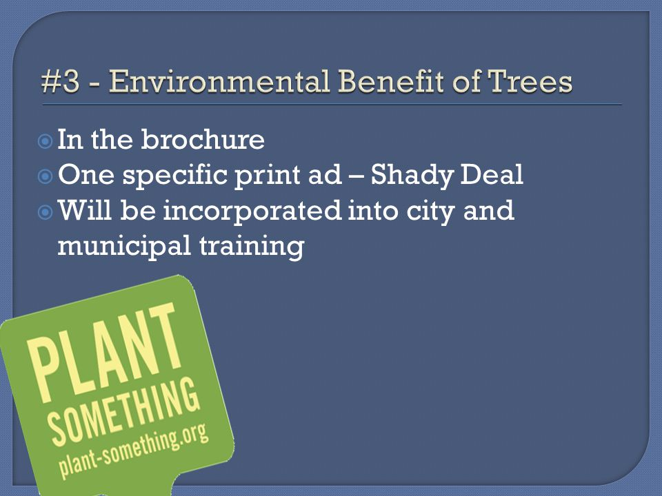  In the brochure  One specific print ad – Shady Deal  Will be incorporated into city and municipal training