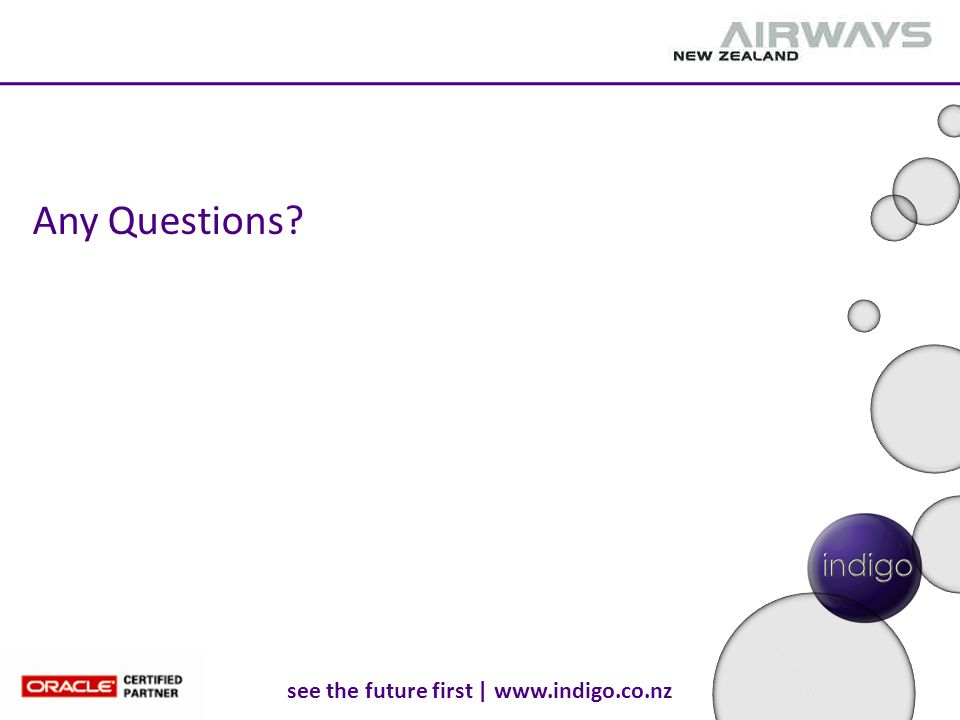 see the future first | www.indigo.co.nz Any Questions?