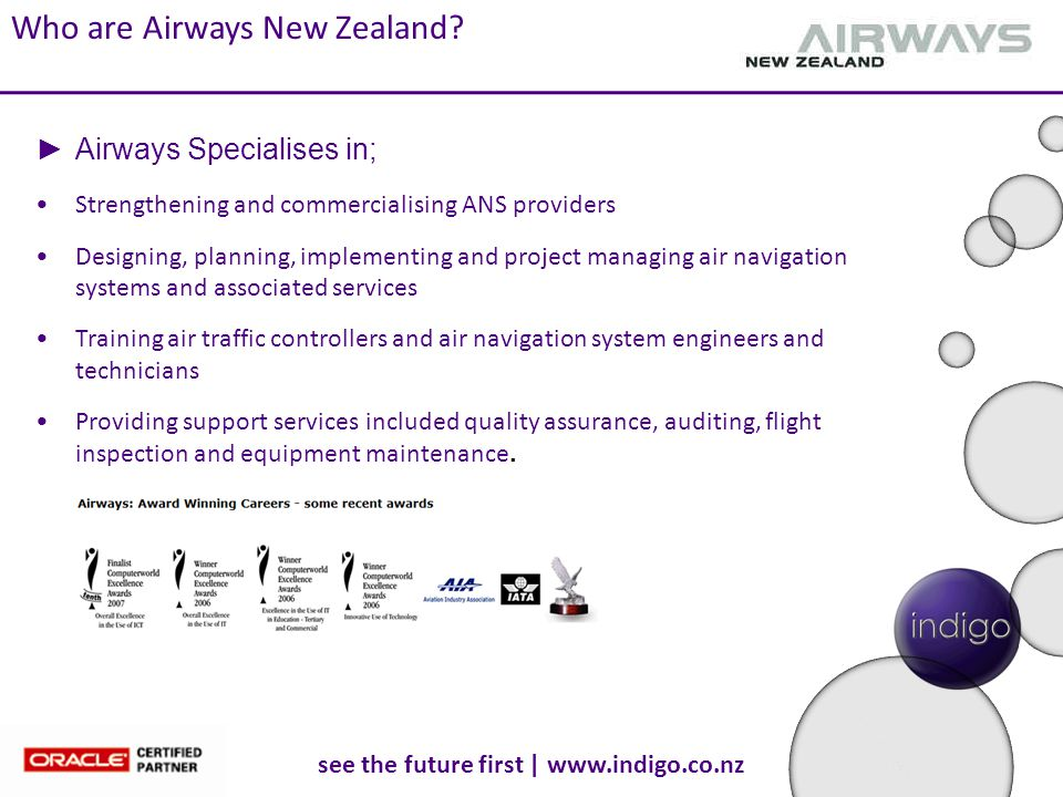 see the future first | www.indigo.co.nz Who are Airways New Zealand? Strengthening and commercialising ANS providers Designing, planning, implementing