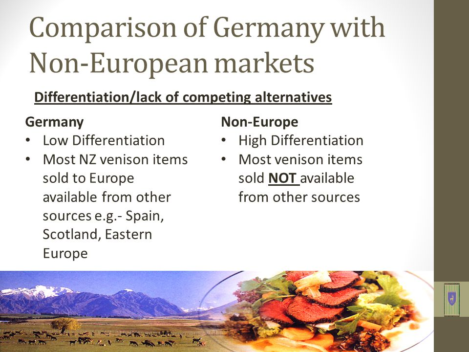 Comparison of Germany with Non-European markets Differentiation/lack of competing alternatives Germany Low Differentiation Most NZ venison items sold to Europe available from other sources e.g.- Spain, Scotland, Eastern Europe Non-Europe High Differentiation Most venison items sold NOT available from other sources