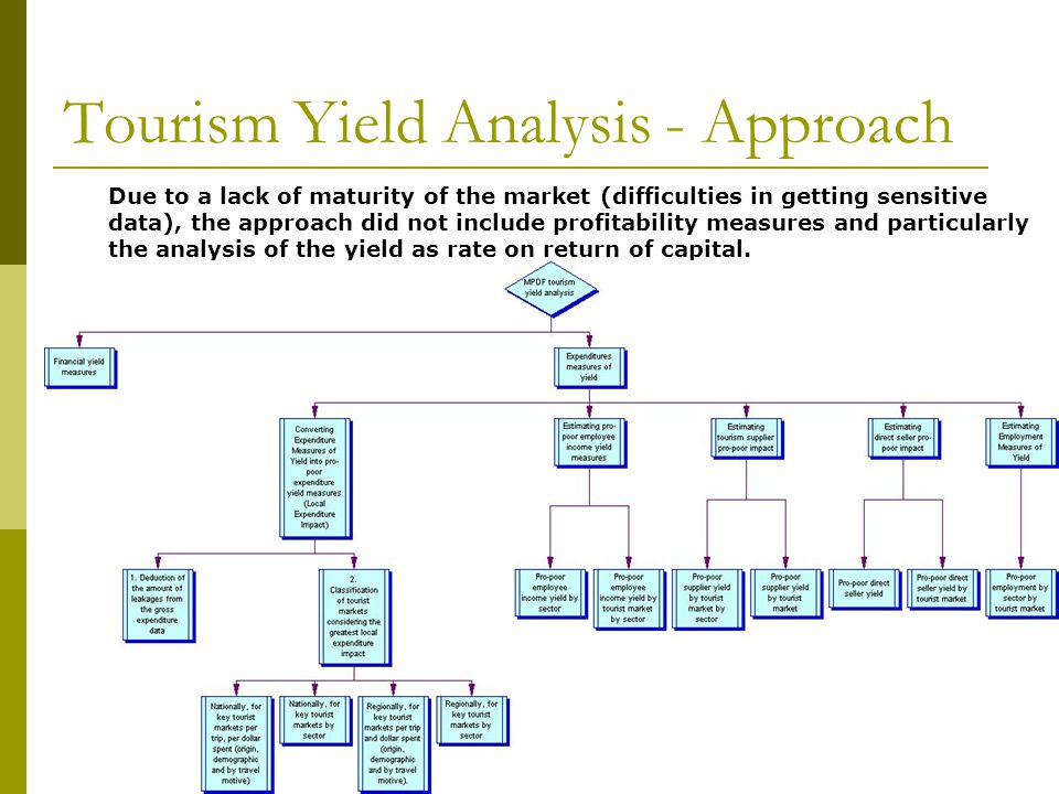Tourism Yield Analysis - Approach Due to a lack of maturity of the market (difficulties in getting sensitive data), the approach did not include profitability measures and particularly the analysis of the yield as rate on return of capital.