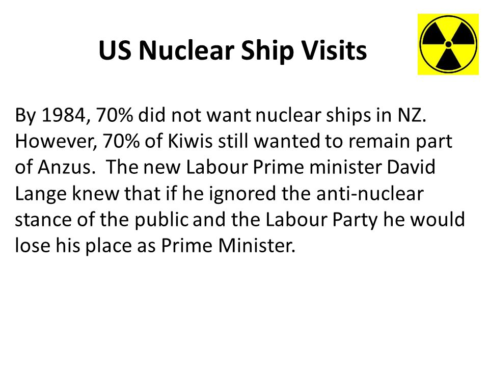 US Nuclear Ship Visits By 1984, 70% did not want nuclear ships in NZ.