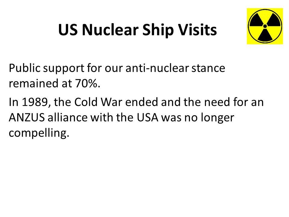 US Nuclear Ship Visits Public support for our anti-nuclear stance remained at 70%.