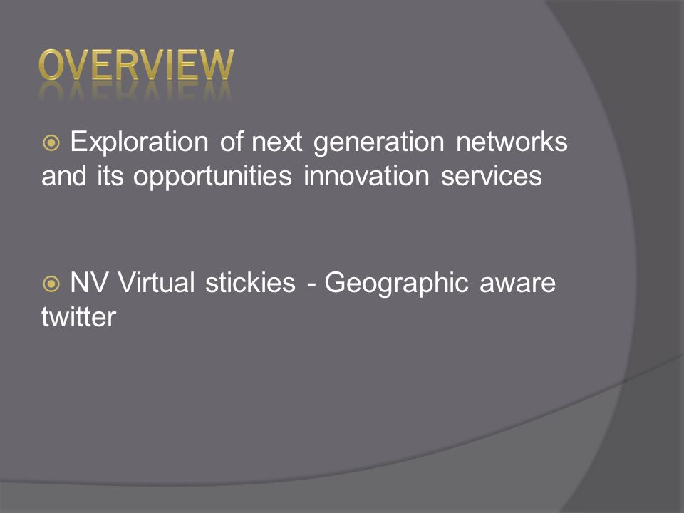  Exploration of next generation networks and its opportunities innovation services  NV Virtual stickies - Geographic aware twitter