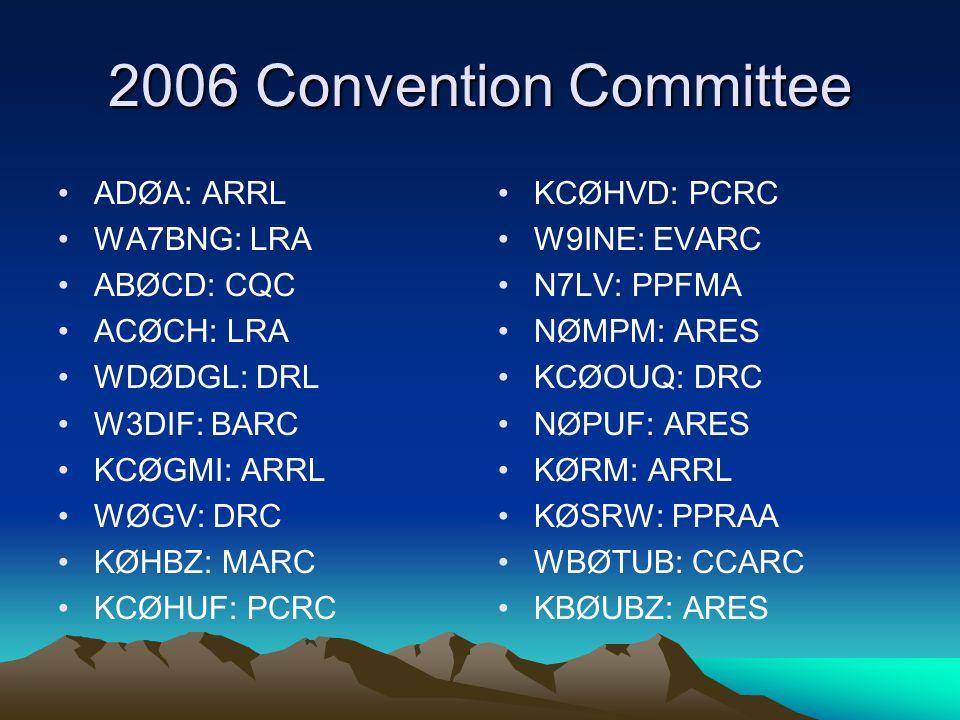 2006 Convention Committee ADØA: ARRL WA7BNG: LRA ABØCD: CQC ACØCH: LRA WDØDGL: DRL W3DIF: BARC KCØGMI: ARRL WØGV: DRC KØHBZ: MARC KCØHUF: PCRC KCØHVD: PCRC W9INE: EVARC N7LV: PPFMA NØMPM: ARES KCØOUQ: DRC NØPUF: ARES KØRM: ARRL KØSRW: PPRAA WBØTUB: CCARC KBØUBZ: ARES