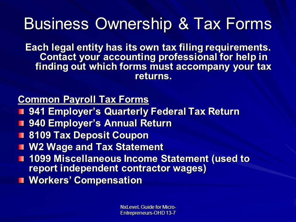 NxLeveL Guide for Micro- Entrepreneurs-OHD 13-7 Business Ownership & Tax Forms Each legal entity has its own tax filing requirements. Contact your acc