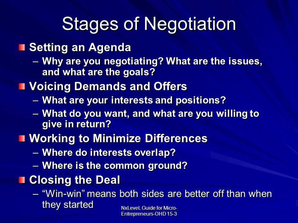 NxLeveL Guide for Micro- Entrepreneurs-OHD 15-3 Stages of Negotiation Setting an Agenda –Why are you negotiating? What are the issues, and what are th