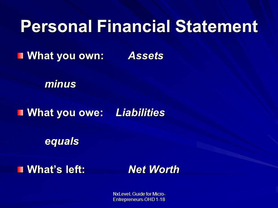 NxLeveL Guide for Micro- Entrepreneurs-OHD 1-18 Personal Financial Statement What you own:Assets minus What you owe: Liabilities equals What's left:Ne