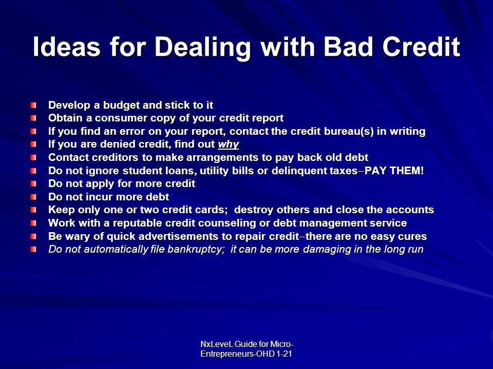 NxLeveL Guide for Micro- Entrepreneurs-OHD 1-21 Ideas for Dealing with Bad Credit Develop a budget and stick to it Obtain a consumer copy of your cred