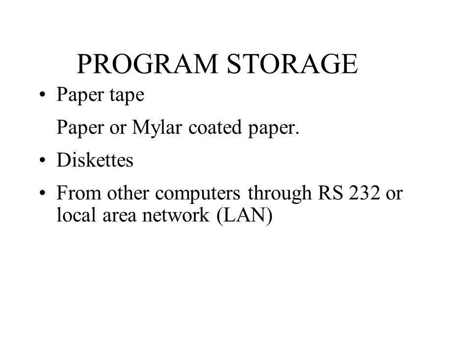 PROGRAM STORAGE Paper tape Paper or Mylar coated paper.