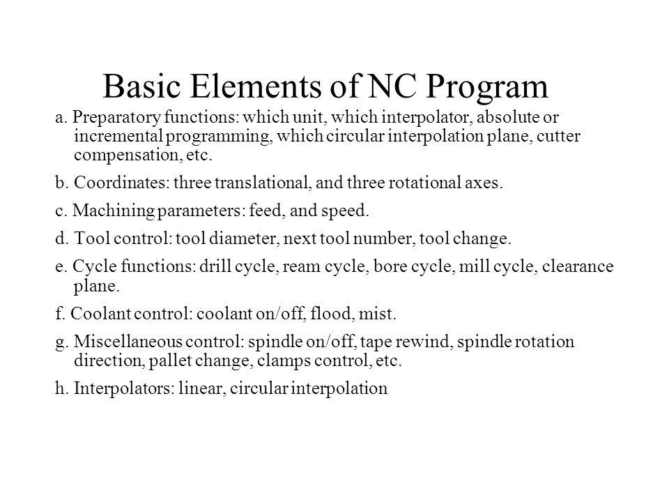 Basic Elements of NC Program a.