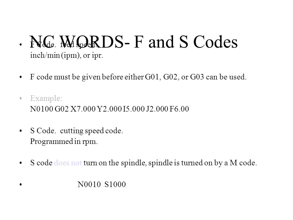NC WORDS- F and S Codes F Code.feed speed. inch/min (ipm), or ipr.