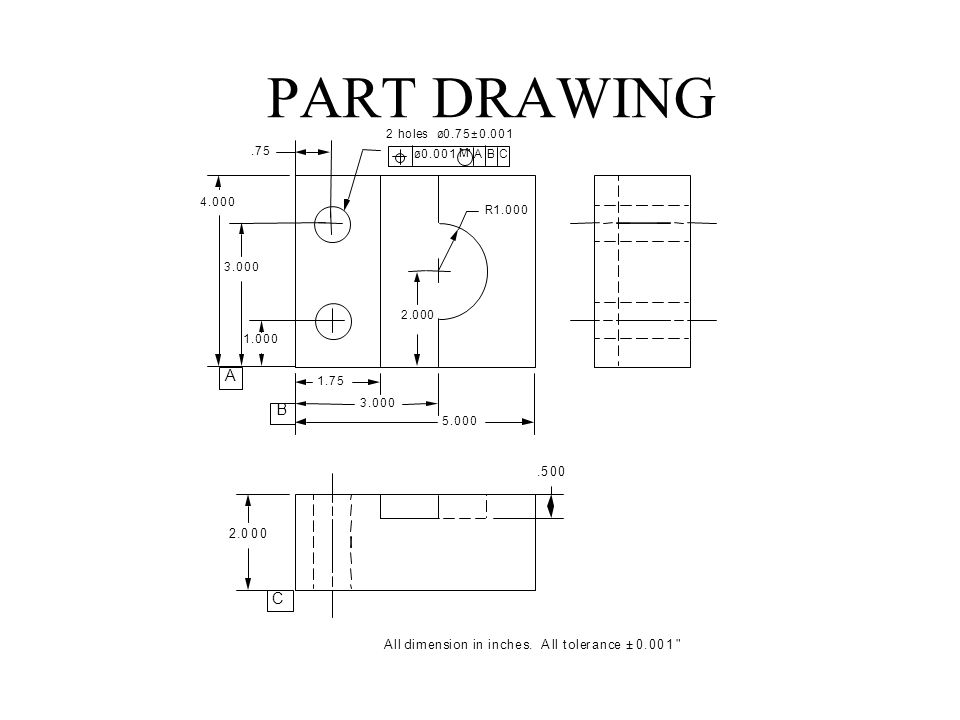 PART DRAWING All dimension in inches. All tolerance ±0.001
