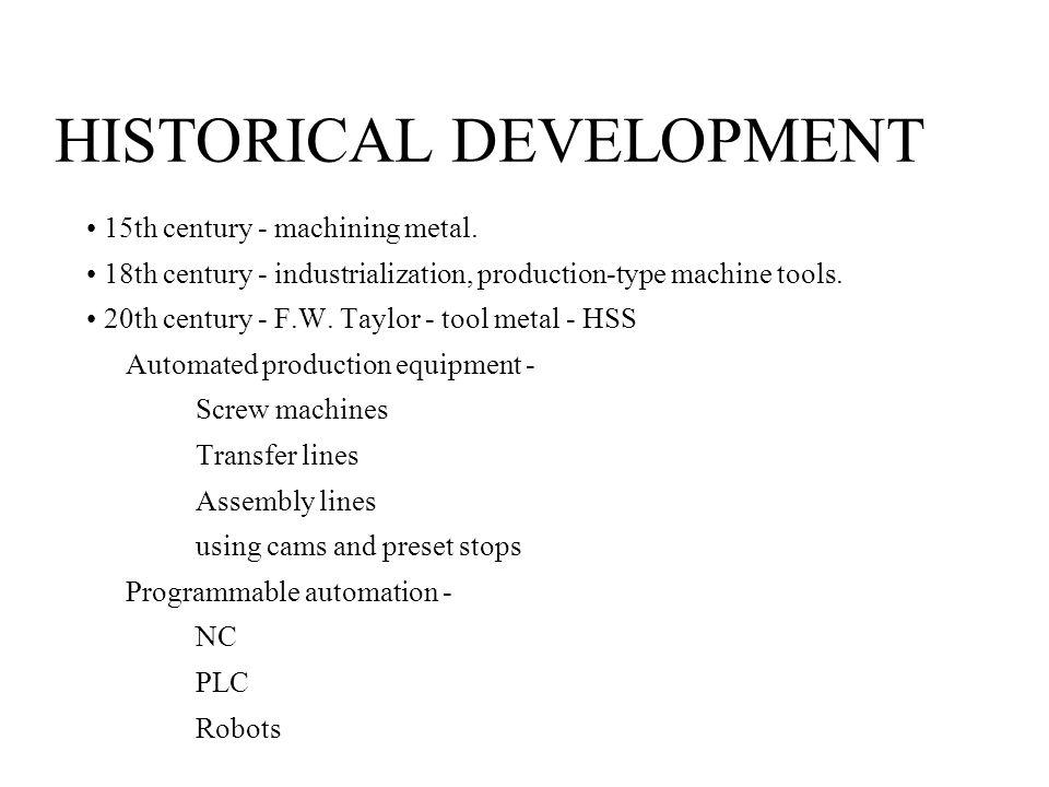 HISTORICAL DEVELOPMENT 15th century - machining metal.