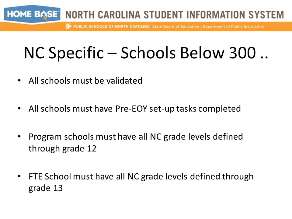 NC Specific – Schools Below 300..