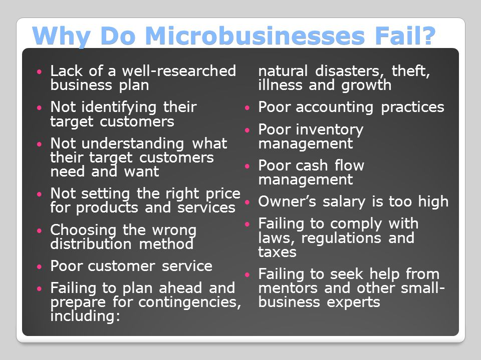 Why Do Microbusinesses Fail? Lack of a well-researched business plan Not identifying their target customers Not understanding what their target custom