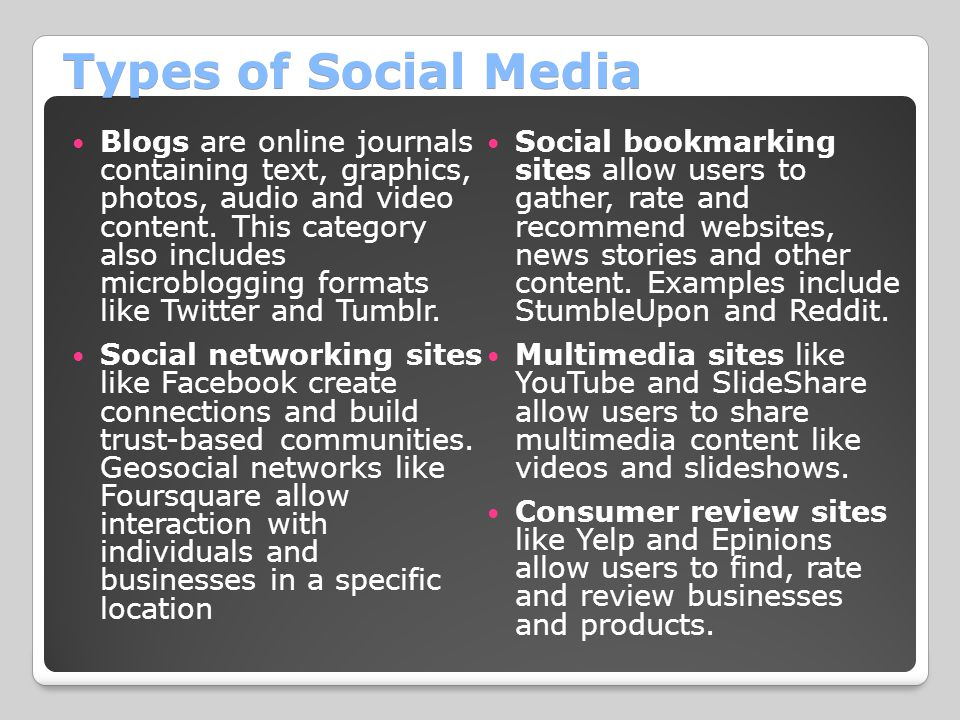 Types of Social Media Blogs are online journals containing text, graphics, photos, audio and video content. This category also includes microblogging