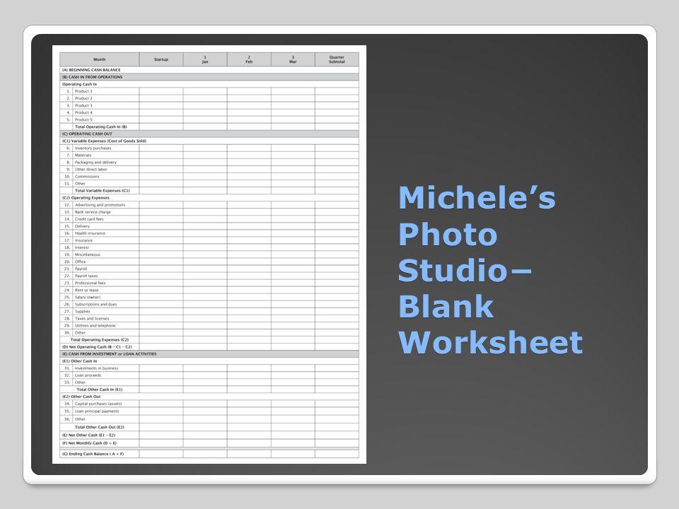 Michele's Photo Studio− Blank Worksheet Michele's Photo Studio− Blank Worksheet