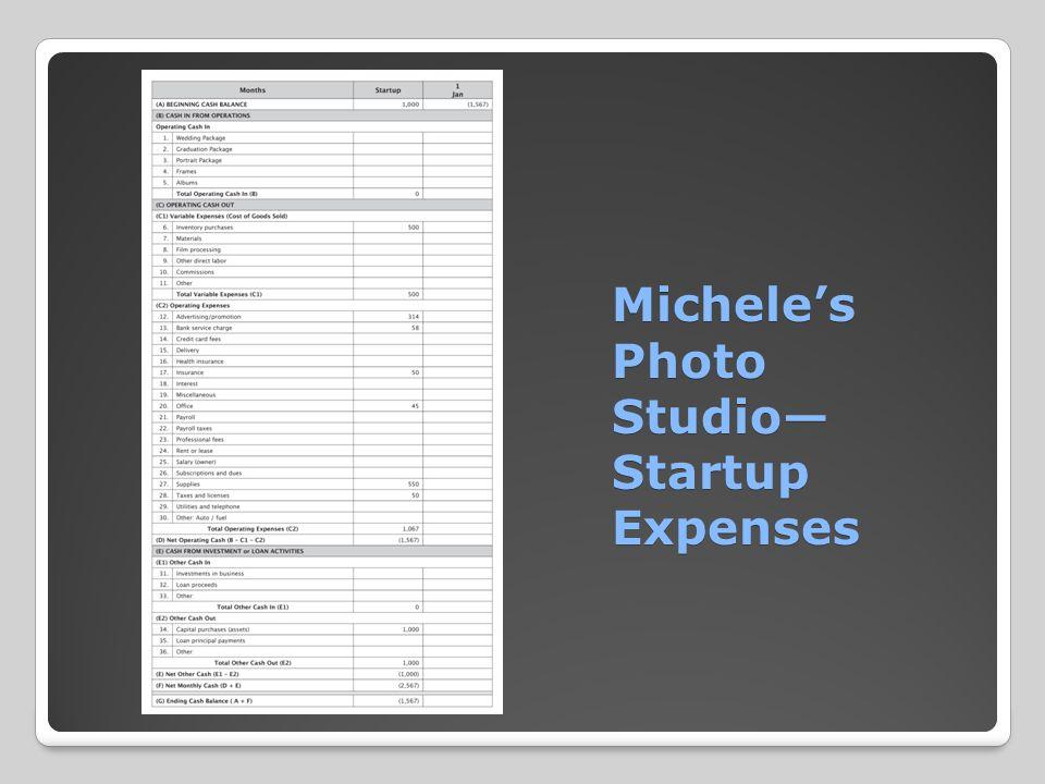 Michele's Photo Studio— Startup Expenses Michele's Photo Studio— Startup Expenses