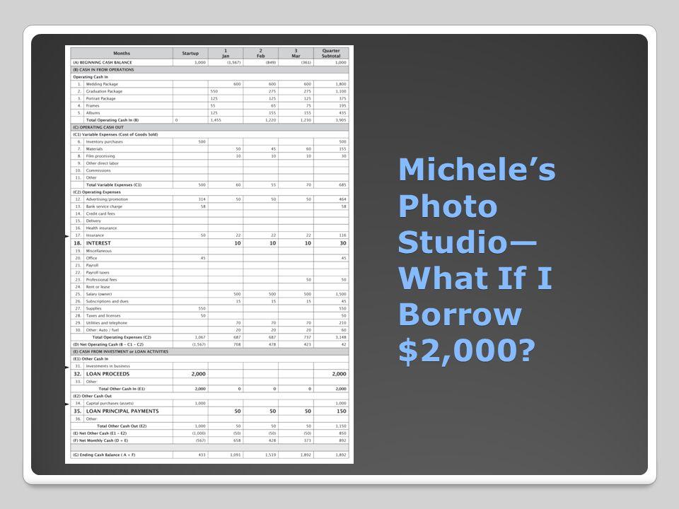 Michele's Photo Studio— What If I Borrow $2,000? Michele's Photo Studio— What If I Borrow $2,000?