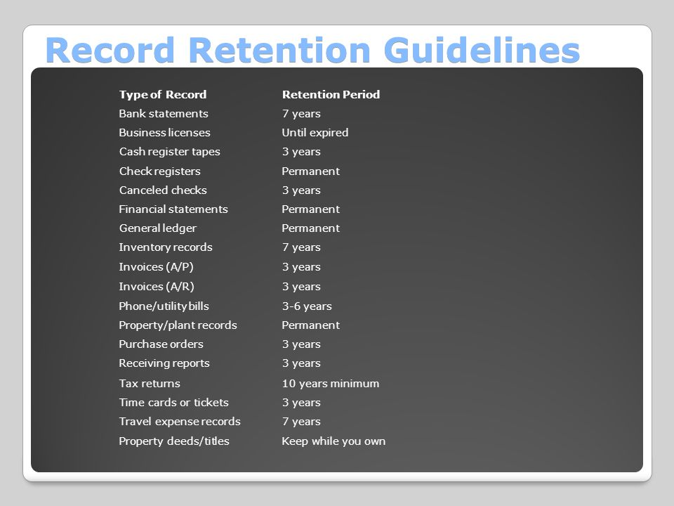 Record Retention Guidelines Type of RecordRetention Period Bank statements7 years Business licensesUntil expired Cash register tapes3 years Check registersPermanent Canceled checks3 years Financial statementsPermanent General ledgerPermanent Inventory records7 years Invoices (A/P)3 years Invoices (A/R)3 years Phone/utility bills3-6 years Property/plant recordsPermanent Purchase orders3 years Receiving reports3 years Tax returns10 years minimum Time cards or tickets3 years Travel expense records7 years Property deeds/titlesKeep while you own