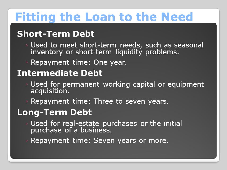 Fitting the Loan to the Need Short-Term Debt ◦Used to meet short-term needs, such as seasonal inventory or short-term liquidity problems.