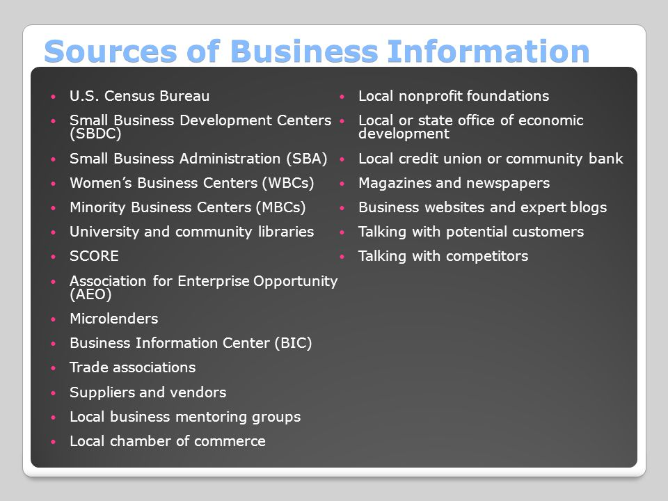 Sources of Business Information U.S.