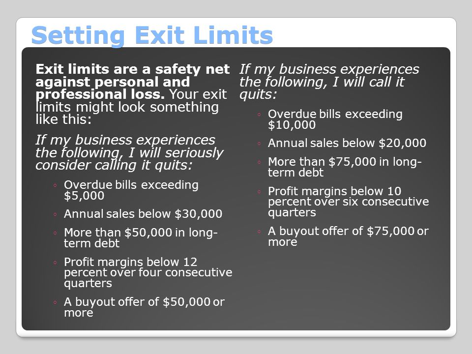 Setting Exit Limits Exit limits are a safety net against personal and professional loss.