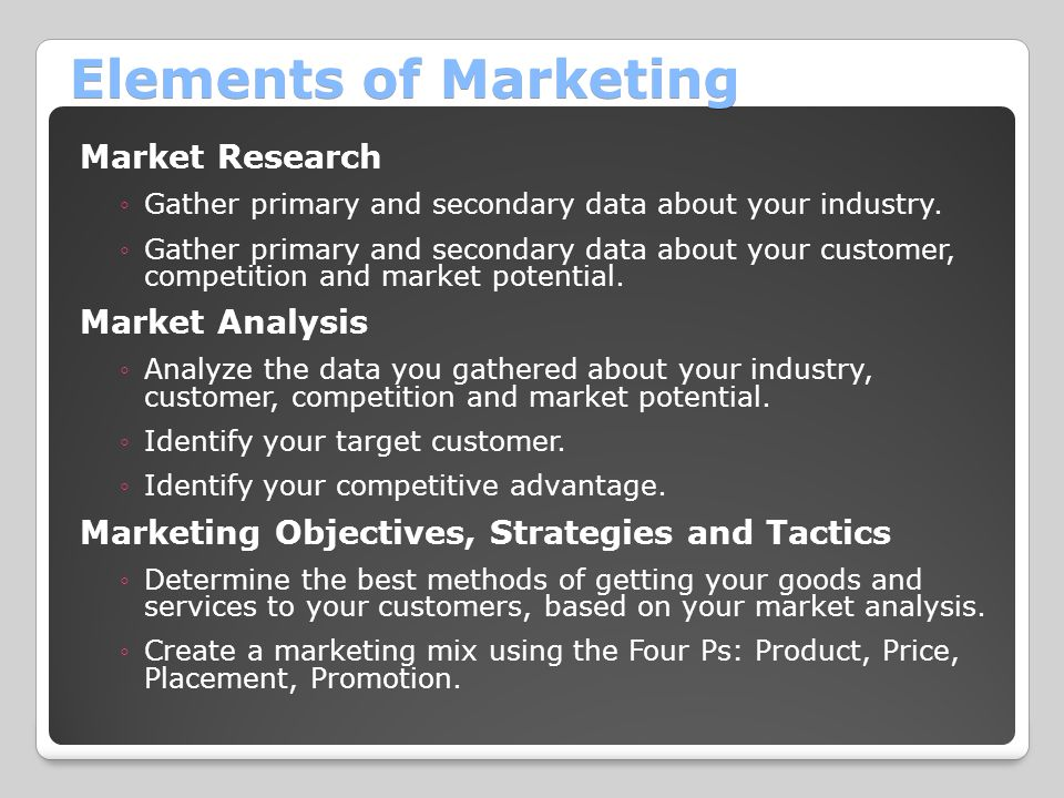 Elements of Marketing Market Research ◦Gather primary and secondary data about your industry.