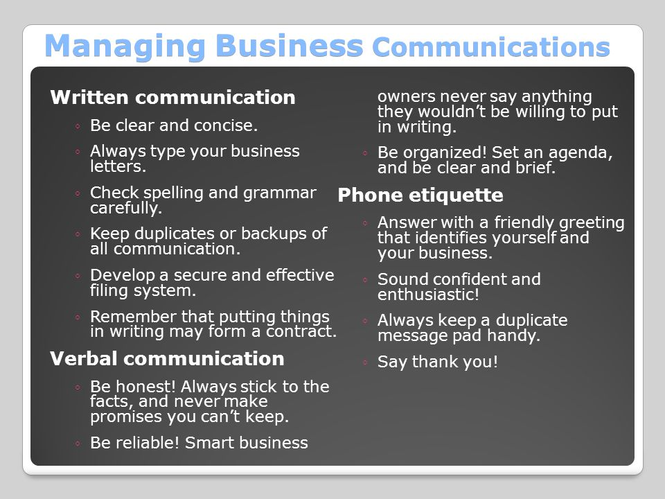 Managing Business Communications Written communication ◦Be clear and concise. ◦Always type your business letters. ◦Check spelling and grammar carefull
