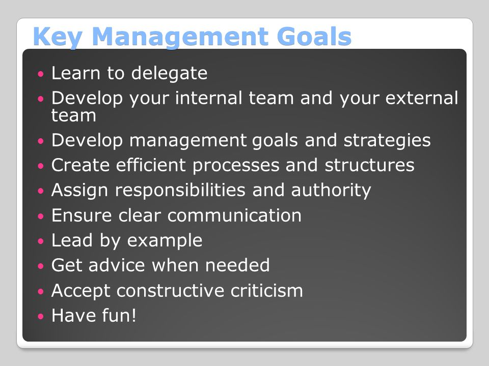 Key Management Goals Learn to delegate Develop your internal team and your external team Develop management goals and strategies Create efficient processes and structures Assign responsibilities and authority Ensure clear communication Lead by example Get advice when needed Accept constructive criticism Have fun!