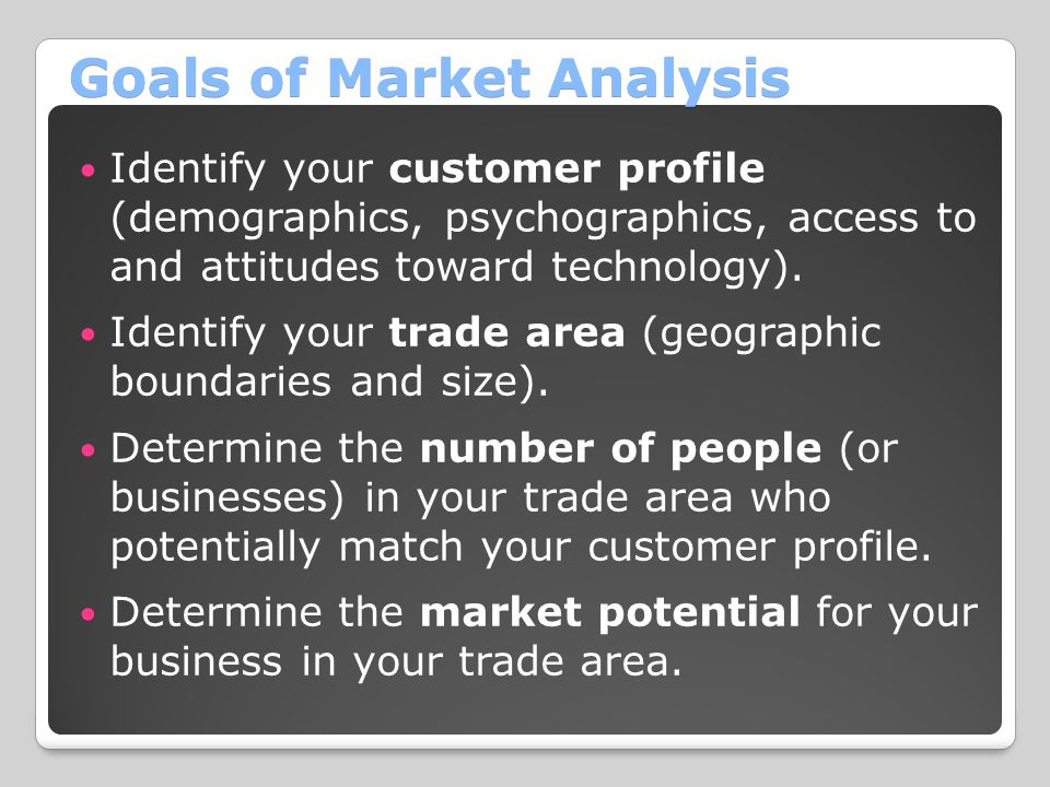 Goals of Market Analysis Identify your customer profile (demographics, psychographics, access to and attitudes toward technology).