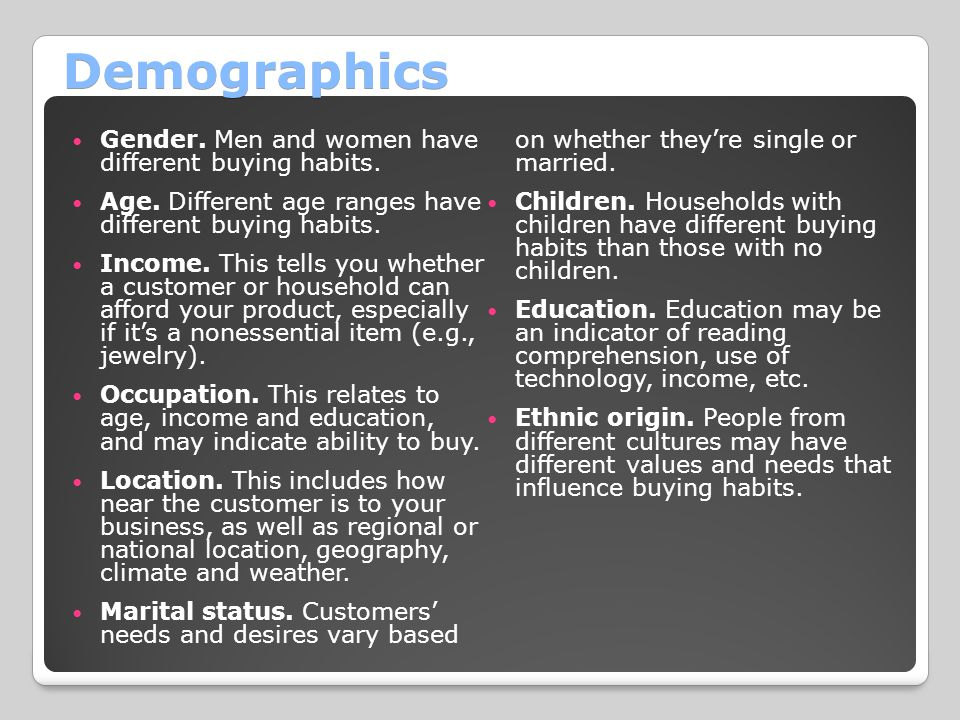 Demographics Gender.Men and women have different buying habits.