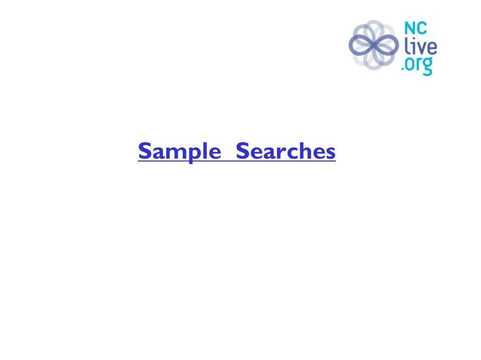 Sample Searches