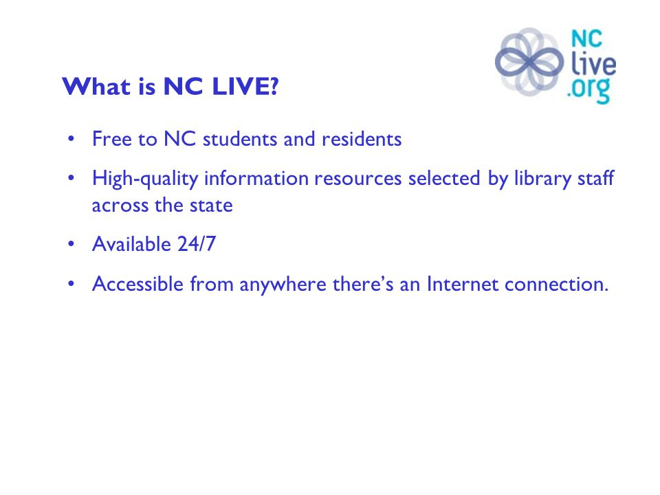 How do I access NC LIVE outside the library.